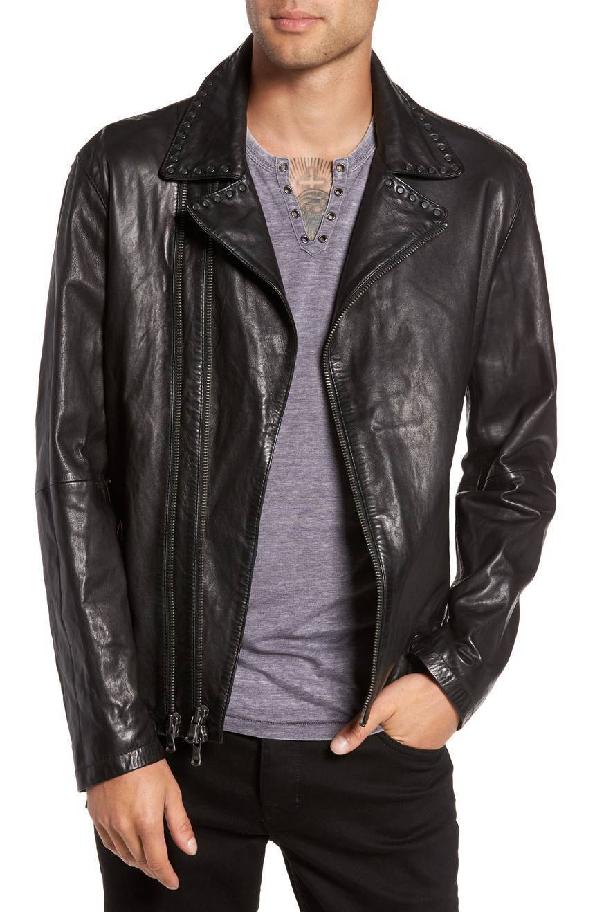 New Two Line Front Zip Notched Men's Collar Leather Jacket Slim fit Biker jacket