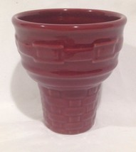 Longaberger Ice Cream Cone Shaped Dessert Bowl / Dish Paprika - $12.69