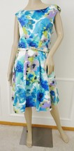 Nwt Eliza J Faille Fit & Flare Pleated Belted Dress Sz 14 Blue Green Print $130 - $59.35