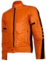 Men's Biker Style Orange Leather Jacket | LJM - $199.99