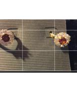 Ruby zircon hoop earrings - $40.50