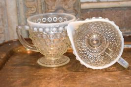 Moonstone HOBNAIL Cream Creamer & Sugar Bowl WHITE ART GLASS Vintage FENTON image 3