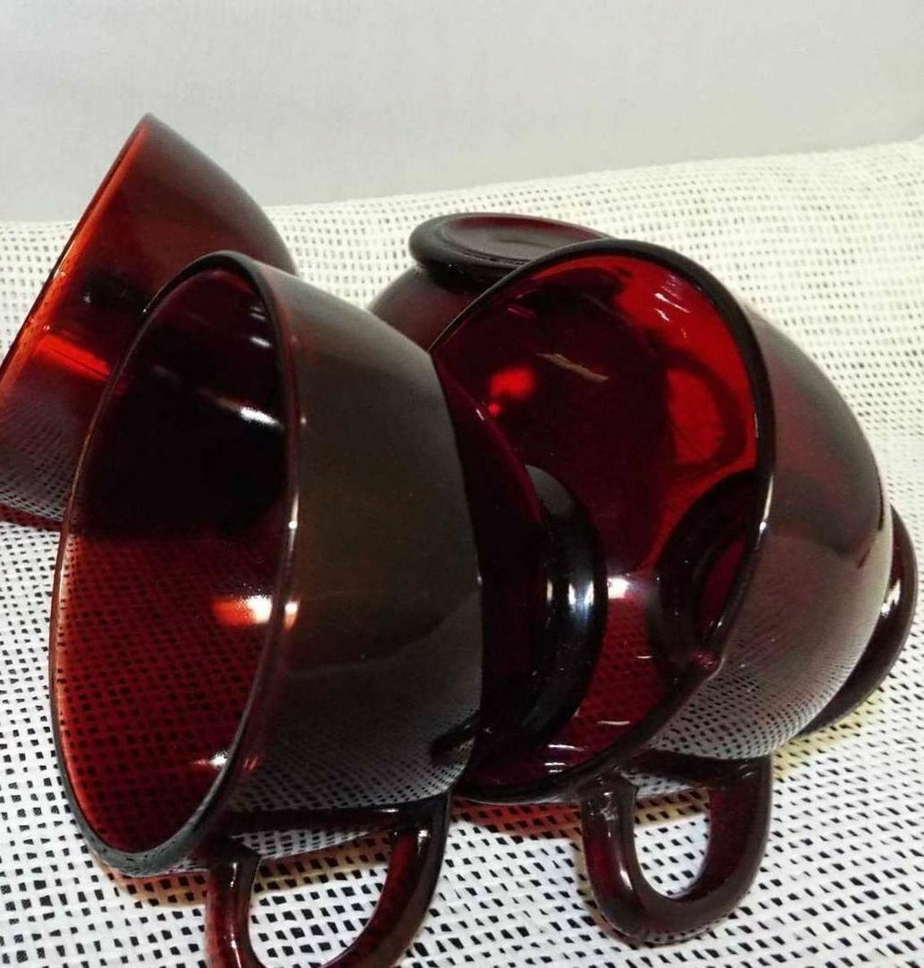 Primary image for Vintage Depression Red Glass Coffee Cups Punch Cups Anchor Hocking Lot of 4