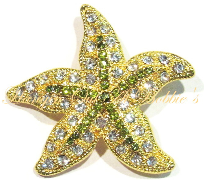 Primary image for Starfish Pin Brooch LIme Green Clear Crystal Multicolor Metal Ocean Beach Theme