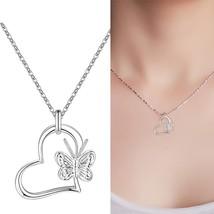 2019 New New Fashion Silver beautiful cute women Heart butterfly Pendant... - $7.77