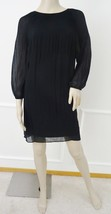 Nwt Max Studio Casual Day Pleated Yoke Chiffon Shift Dress XS X-Small Bl... - $59.35
