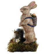 Easter Rabbit Small  Figurine Handmade Wood Fib... - $26.50