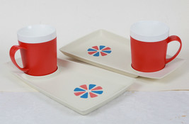 ROMA WARE BY DAVID DOUGLAS CO  SNACK 4 SET TRAY & MUGS RARE RED BLUE IVORY - $24.75