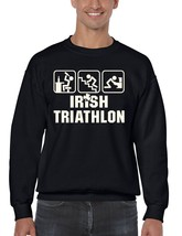 Men's  Crewneck Sweatshirt Saint Patrick's Day Irish Triathlon Irish Shirt - $22.00