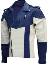 Men Blue & White Biker Leather Jacket | LJM - $199.99