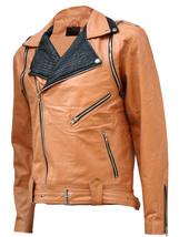 Tan & Black Draped Leather Jacket for Men | LJM - $199.99