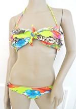 NWT Raisins Bandeau Ruffled  Bikini Swimsuit Sz L Large Lime Green Tropi... - $32.62