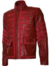 Men Military Style Biker Maroon Leather Jacket | LJM - $199.99