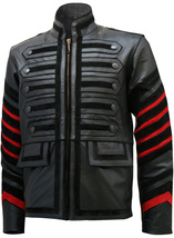 Men Black Military Leather Jacket | LJM - $199.99