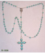 R-1506-Silver Plated Rosary W/Turquoise Beads &... - $24.75