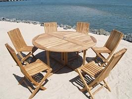 "Premium Grade A Teak 59"" Round Drop Leaf Table/6 Folding Chairs, MSRP $4500 SALE - $2,850.00"
