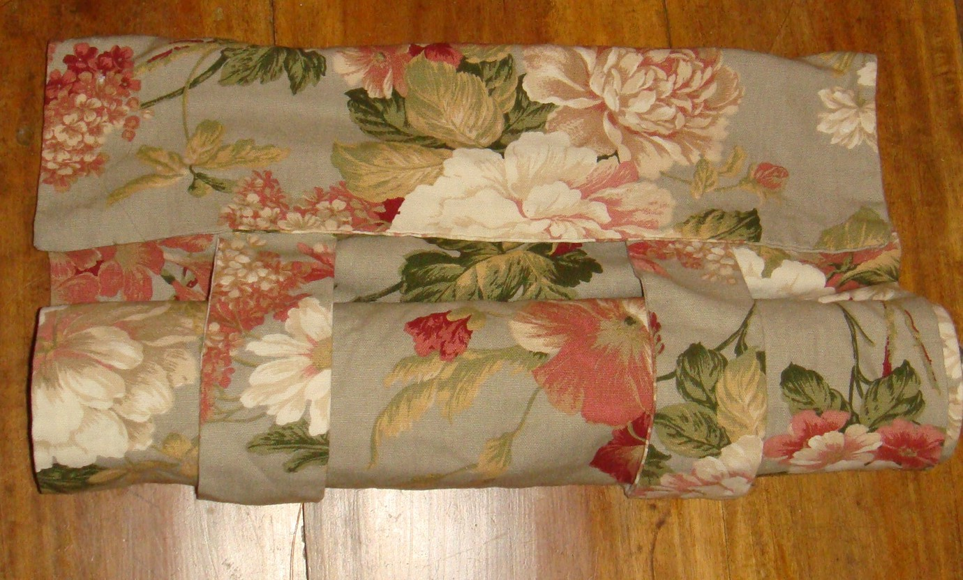 Waverly Sage Floral French Door Window Panel Roll Up Euc Ivory Mauve Green Blinds Shades