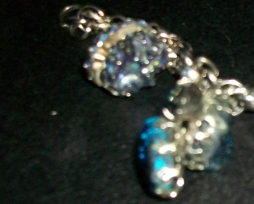 Vintage Chunky Freeform Lucite Moonstone, Confetti, Bead, 2-Sided Charm Bracelet