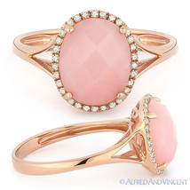 2.29 ct Checkerboard Oval Cut Pink Opal Diamond Halo Cocktail Ring 14k R... - £318.41 GBP