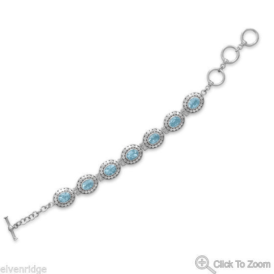"6.5""+1.5"" Extension Blue Topaz Bracelet Sterling Silver"