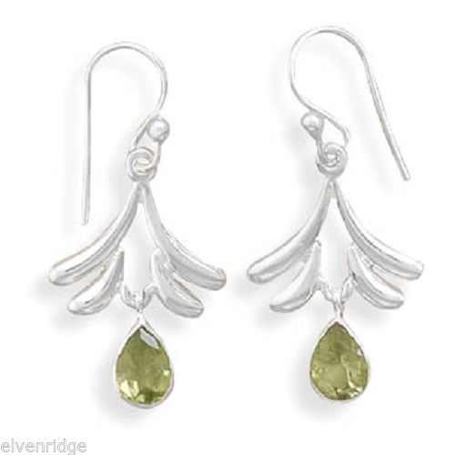 Fan Design French Wire Earrings with Peridot Sterling Silver