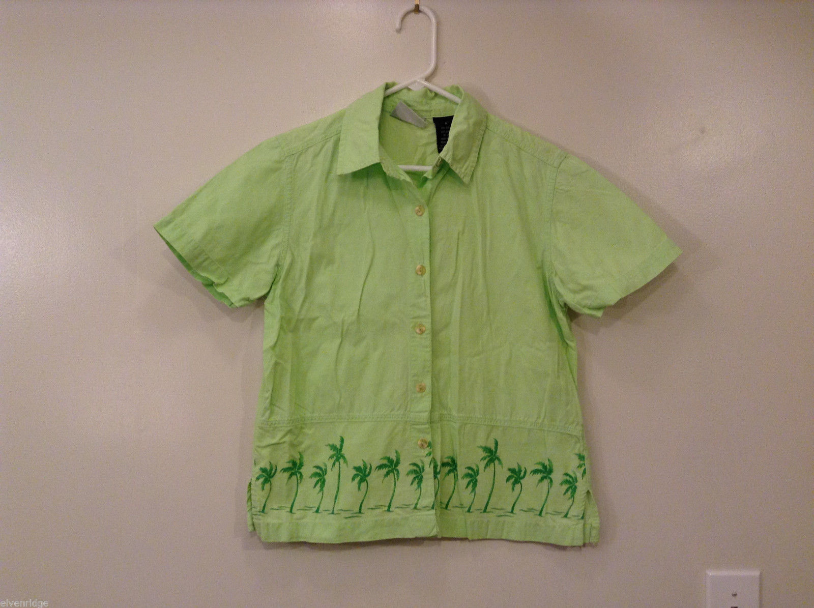Erika & Co. Women's Size S Blouse Top Collar Shirt Lime Green Palm Print Border