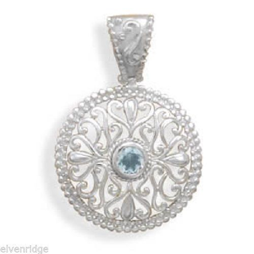 Blue Topaz Pendant with Swirl Filigree Design Sterling Silver