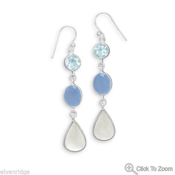 Blue Multistone Drop Earrings Topaz, Mother of Pearl, Chalcedony