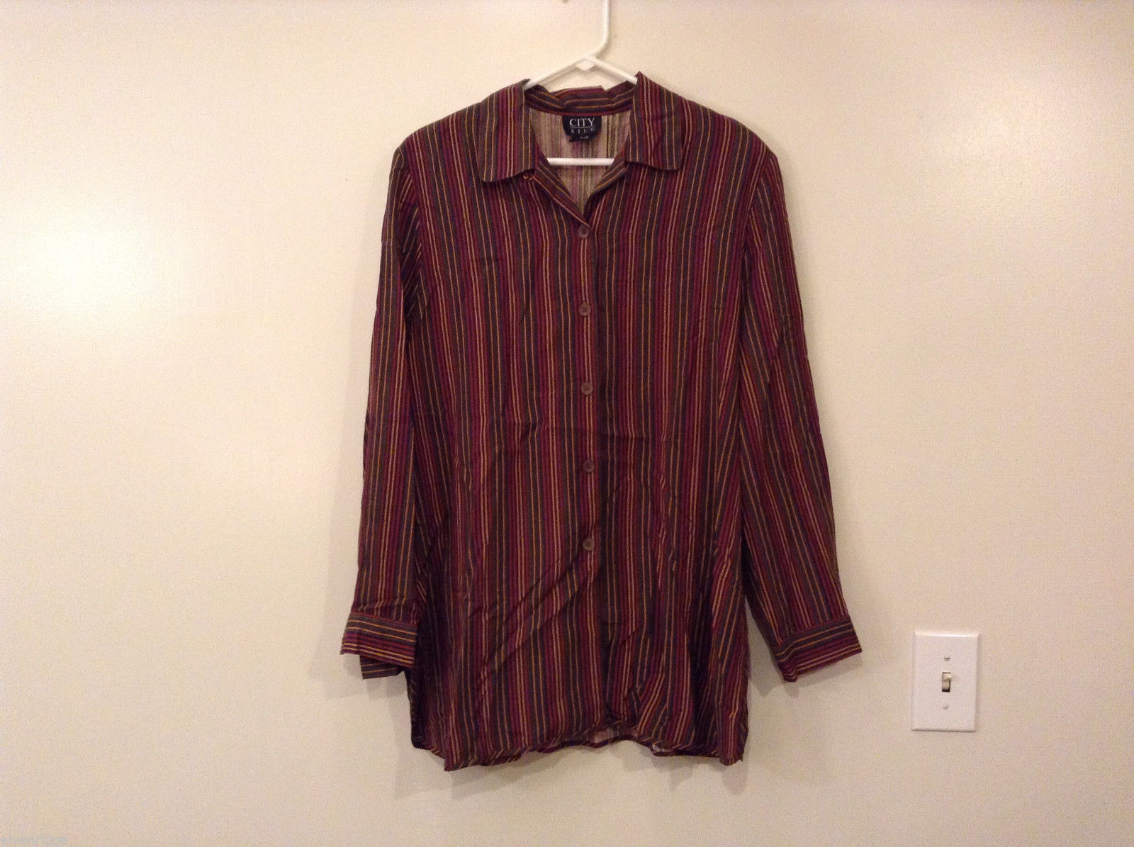 City Silk Women Size L 100% Silk Blouse Top Shirt Button-Down Striped 70s Colors