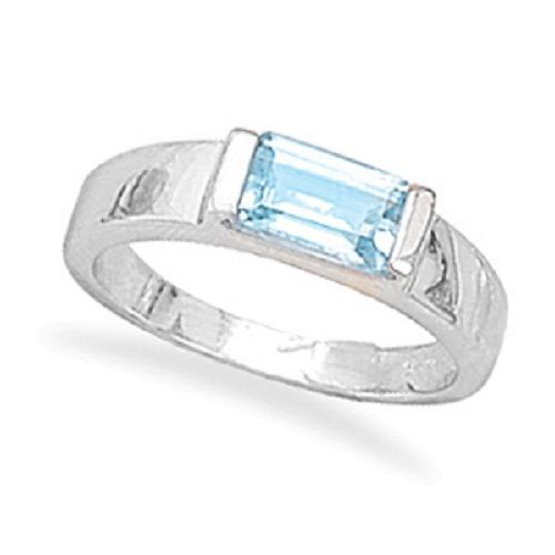 Emerald Cut Blue Topaz Ring .925 Sterling Silver