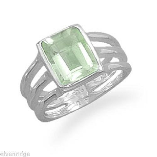 Green Amethyst Triple Thin Band Ring Sterling Silver