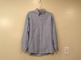 Lands' End Men's Size 17-35 Shirt Classic Fit Oxford Button-Down White & Blue