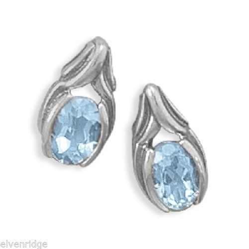 Oxidized Oval Blue Topaz Post Earrings 925 Sterling Silver