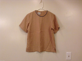Patchington Women's Size XL Blouse Shirt Top Sand Brown w/ Gray Contrast Trim