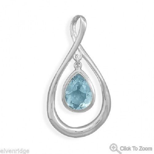 Pear Shape Pendant with Blue Topaz Drop Silver Polished