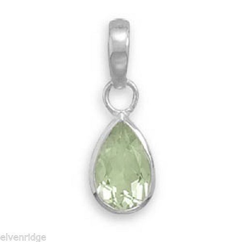 Pear Shape Green Amethyst Pendant Sterling Silver