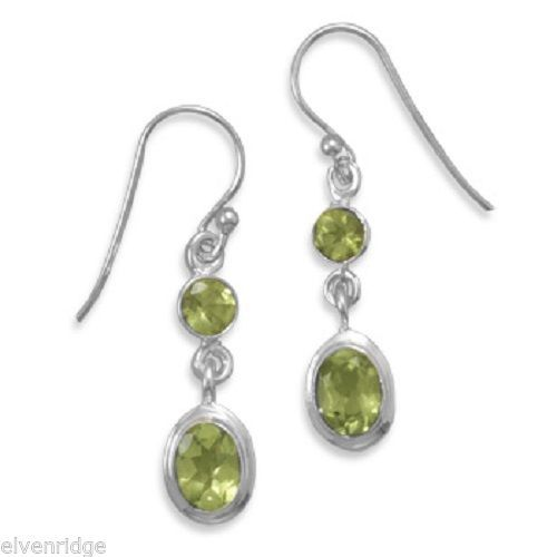 Round & Oval Peridot Polished Earrings on French Wire Sterling Silver