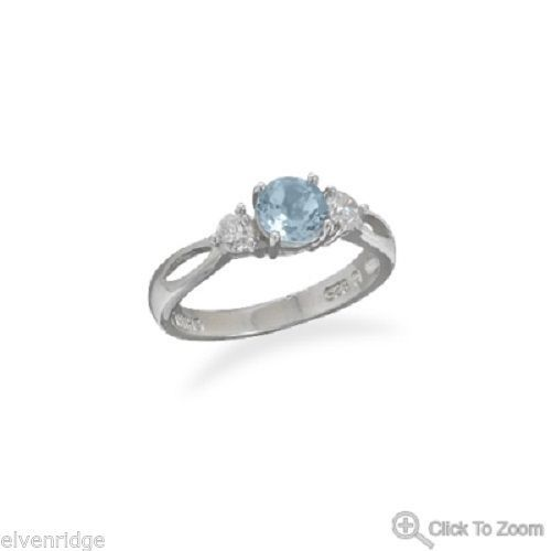 Rhodium Plated Blue Topaz Ring 925 Sterling Silver Base