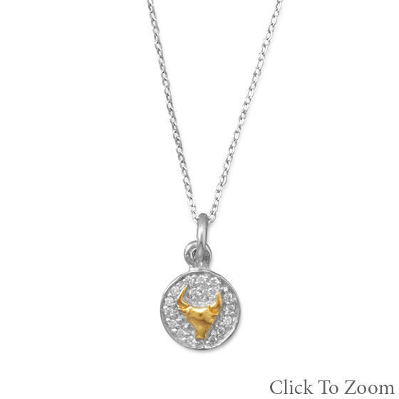 Zodiac Charm Necklace in Rhodium Plated Sterling w 14K Accent