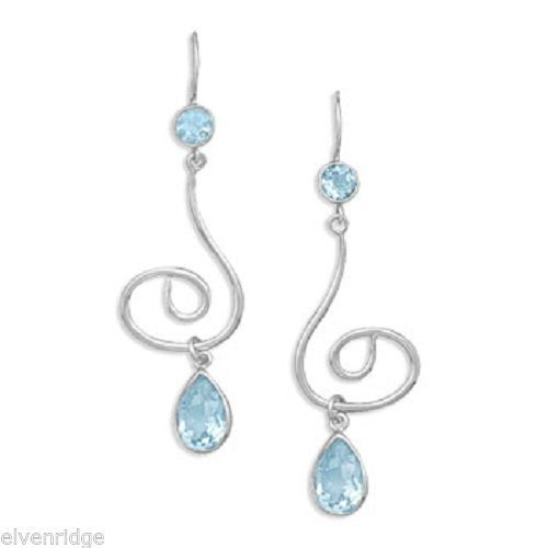 Swirl Design Earrings with Faceted Blue Topaz Silver