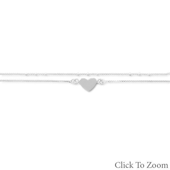 Sterling Silver Anklet Ankle Bracelet  in Choice of size and charm