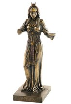 Egyptian Queen With Cup In Left Hand Bronze Colored Statue sculpture figure - $35.00