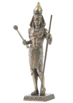 Egyptian Pharaoh Holding Scepter and Staff Bronze Statue Sculpture Figurine - $37.50