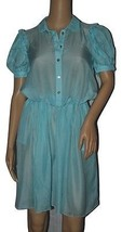 Dolce & Gabbana Sheer Silk Dress Pale Blue Short Sleeve NWT (PB121) - $79.99