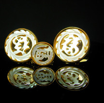 Wedding Cuff links Vintage Chinese carved mother of pearl Original Box L... - $185.00