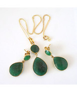 Sterling Silver Gold Vermeil Genuine Emerald Quartz Drop Earring Pendant... - $48.51