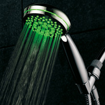 HotelSpa Neon 7-Setting SpiralFlo LED Hand Shower w/ Temperature Sensor ... - $39.99