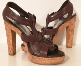 GIANNI BINI- Strappy Open-toe Platform Leather Sandals with Cork Heel-Wo... - $36.82