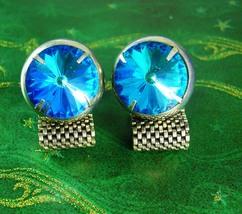 BOLD Globe Rivoli Cufflinks Prism Glass heavy mesh wrap silver cuff link... - $110.00