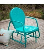 Outdoor Glider Vintage Retro Metal Chair Blue P... - $186.82